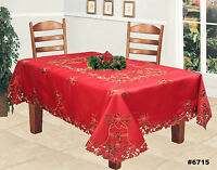 Christmas Embroidered Poinsettia Bell Tablecloth & Napkins RED Holiday #6715