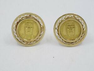 VENEZUELA GOLD COIN CACIQUES TIUNA .900 GOLD w/ SOLID 18K FRAME CUFFLINKS ~ 11g