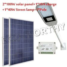 40W 12V street light system kit W/ 2*100W solar panel+1m lamp arm path garden