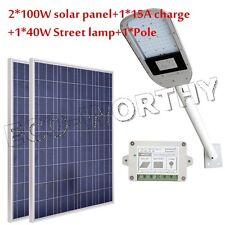 40W 12V LED Street Light Road Garden Light Lamp & 2*100W Solar Panel & 3.3' Pole