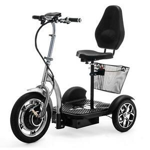 3 Rad Elektromobilität Roller Seniorenmobil Dreirad mit korb Silber VELECO ZT16