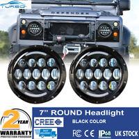 Land Rover Defender LED Black Headlights Hi/Lo w/ DRL Amber Turn Signal Lamp DOT