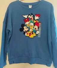 Disney Sweatshirt Mickey Mouse and Characters Embroidered Crewel Women's SZ L