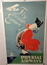 Original Vintage Airline Travel Poster Imperial Airways 1935 Europe Very Rare