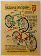 1959 Schwinn bicycle cartoon ad ~ SPEEDSTER, TIGER