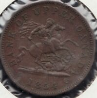 1854 -Bank of Upper Canada - Dragon Slayer - 1 Penny - Superfleas - PC-6C1