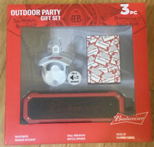 Budweiser Outdoor Party Gift Set 3pc Bluetooth Rugged Speaker-Brand New