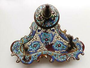 Gorgeous French Champlevé Enamel 19thC Bronze Inkstand Inkwell