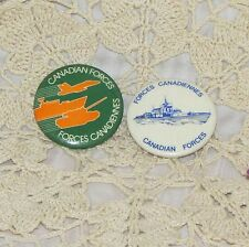 CANADIAN ARMED FORCES 2 VINTAGE PINBACK BUTTON SHIP JET TANK MILITARY ARMY NAVY