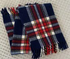 Wool Blend Throw Blanket or Robe: Tartan Plaid: Blue White Red Yellow -
