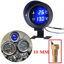 DC 12V/24V Blue Backlit LCD Digital Voltmeter&Water Temp Gauge Meter with Sensor