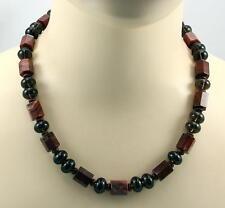 Jaspis-Kette  Breckzien-Jaspis Rauchquarz Edelsteinkette Halskette Damen 52 cm