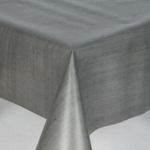 Plain Textile Linen Look Milano Grey Vinyl Pvc Wipeclean Tablecloth, Cafe, Bar