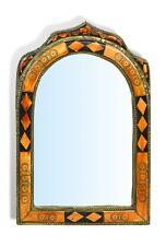 Large Ornate Arch Moroccan Mirror diamonds insert - orange Henna 31 cm