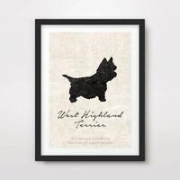 WEST HIGHLAND TERRIER WESTIE DOG ART PRINT POSTER Breed Black Silhouette Vintage