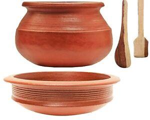 Unglazed Terracotta Clay Pottery Mud Pot/Earthen Handi Kadhai Combo 3 l & 2 l