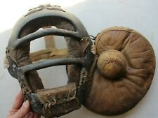 VINTAGE ANTIQUE METAL LEATHER BASEBALL CATCHERS MASK HAND STITCHED BALL & GLOVE