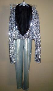 **BALERA**Girl's Sequined Cropped Tuxedo Jacket & Pants Dance Costume size(LC)