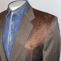 CIRCLE S Western Blazer Jacket Polyester Cowboy Suit Coat Brown Vtg MENS 44 L