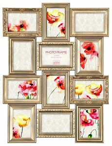 NEW Vintage Gold Multi Aperture Photo Picture Frame - Holds 12 X 6''X4'' Photos