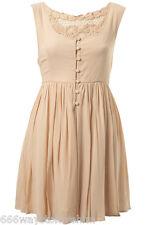 Miss Selfridge Nude Crochet Back Empire Flippy Dress 12 40 Button Front New