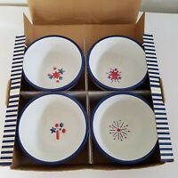Williams Sonoma Boxed Set of 4 Fruit Bowls Fireworks 4th of July Red White& Blue
