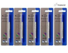 5X Parker Roller Ball Rollerball Pen Quink Refills Ink Blue Medium Refill New FS
