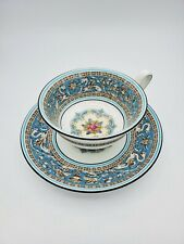 Wedgwood Florentine Turquoise Rim Center Medallion Tea Cup & Saucer Bone China