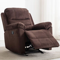 Suede Glider Recliner Chair Manual LivingRoom Lounge Overstuffed Sofa Padded Arm