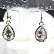Silver tone Tear drop Clear acrylic crystal Sleeper Hoop Huggie Earring.