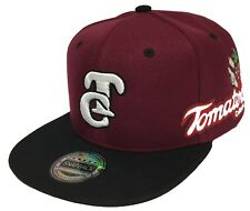 TOMATEROS DE CULIACAN 2 LOGOS TOMATEROS WHITE A LADO HAT MAROON BLACK SNAPBACK