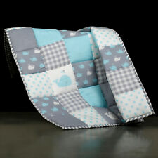 Grey and Blue Handmade Baby Quilt For Nursery Toddler Warm Soft Baby Blanket Kid