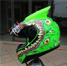 Luminous Glow Green Eyes Pattern Motorcycle Helmet Scooter Shockproof Cool Gift