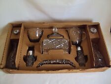 VINTAGE ANCHOR HOCKING EARLY AMERICAN PRESCUT 11 PCS CLEAR GLASS DISHES SET BOX