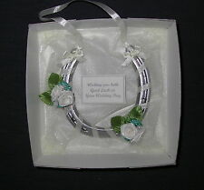 Bridal wedding lucky real horseshoe in TEAL and IVORY