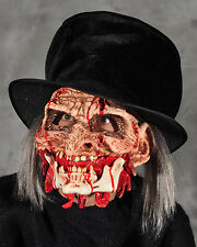 Undertaker Undead Zombie with Attached Top Hat  Scary Adult Halloween Latex Mask