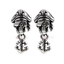 silver stud stainless steel crystal vintage pirate anchor earrings