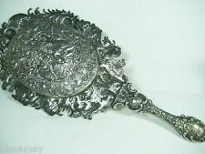 ANTIQUE 1800'S STERLING NUDE & CHERUBS ORNATE REPOUSSE PUTTI HAND MIRROR