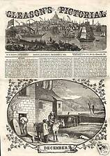Grist Mill Busy In December 1854 Antique Print