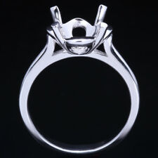 Engagement Wedding Semi Mount Polish Ring 9-10mm Round Silver Plated White Gold