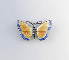 925er Silber emaillierte Brosche Schmetterling Jugendstil-Art blau gelb 9901290