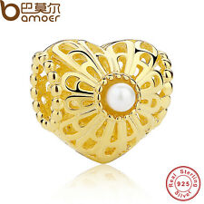 New Gold S925 Sterling Silver Heart Charm With Hollow Peacock Feather With Pearl