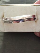 Fine Sterling Silver Hinged Bangle Bracelet 925 FS Approx 37 Grams Ahee Jewelers