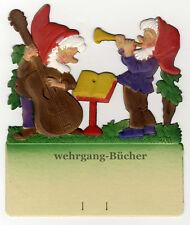 Musizierende Wichtel, Kalenderaufhänger um 1940, geprägte/ Dresdner Pappe