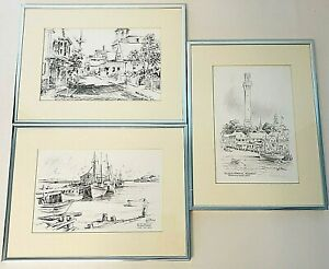 Vintage Jas F Murray Lot of 3 Pencil Drawings Provincetown MA Print SEE $5-SHIP