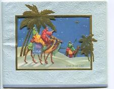 VINTAGE CHRISTMAS BETHLEHEM GOLD EMBOSSED PALM TREES STAR OF EAST GREETING CARD
