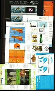 2007 Costa Rica lot of 7 s/s sheet Space Archaeology art painting whale dolphin