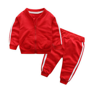 Infant Child Kids Girl Boy Sports Warm Hooded Sweatshirt Long Pants Outfits Set