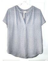 LC Lauren Conrad Size M Gray and White Polka Dot Top V Neck Short Sleeve