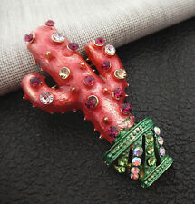 Cactus Betsey Johnson Brooch Pin Women's Red Green Enamel Crystal